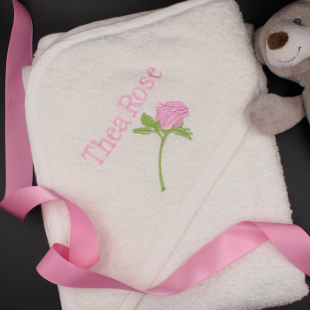 Personalised Baby Towel Rose Embroidered Hooded Towel