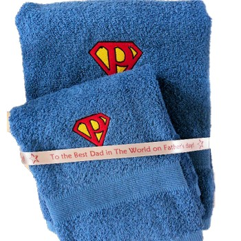 Superman Towels Monogram Electric Blue Towel or Set