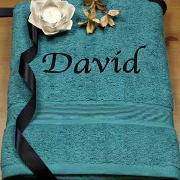 Personalised Bath Sheet Teal XL Cotton Towel