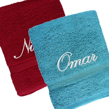 Personalised Towels Set Bath Sheets Teal and Berry Towel Set