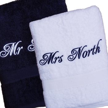 Personalisecd Towel Gift Set Navy White Bath Towels
