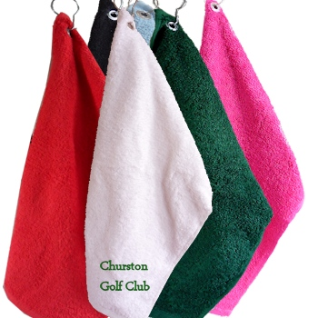 Embroidered Golf Towel<br>White Personalised Golfers Towel