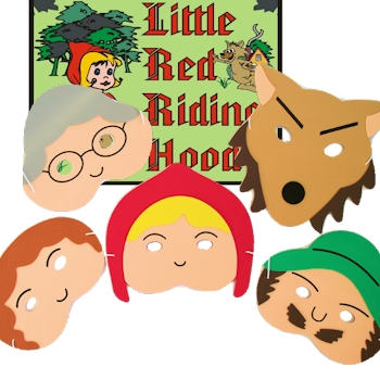 Little Red Riding Hood Play Masks Childrens Story Play Mask Set