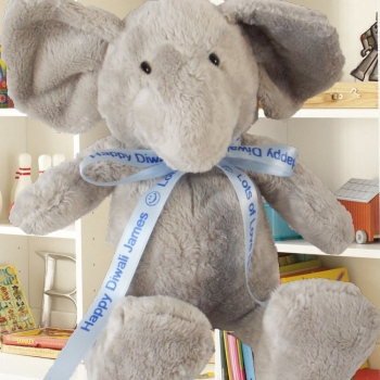 Personalised Elephant Printed Blue Ribbon Elephant