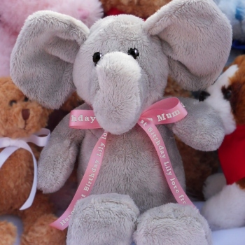 Personalised Elephant Printed Pink Ribbon Elephant