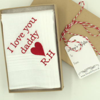 Personalised Heart Handkerchief Love Heart Embroidered Message Hanky