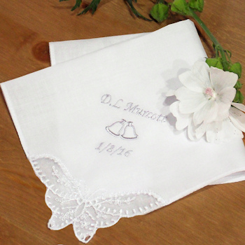 Wedding Handkerchief Bells Personalised Butterfly Lace
