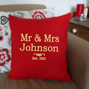 Personalised Cushion Mr & Mrs Anniversary Gift Red Cushion