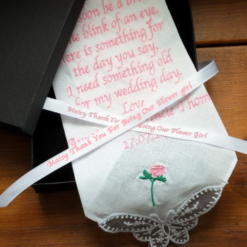Flower Girl Handkerchief Rose Hanky Gift Boxed with Personalised Ribbon