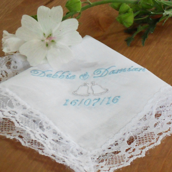 Wedding Handkerchief Bells Personalised Ladies Lace Hanky