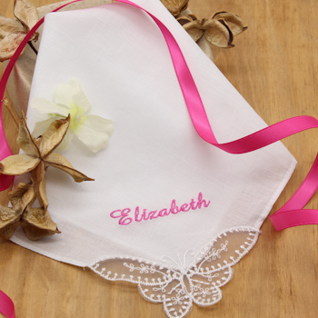 Personalised Ladies Handkerchief Butterfly Lace Corner Hanky