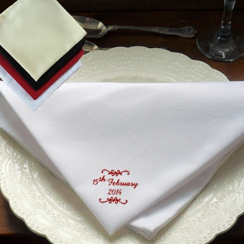 Wedding Napkins Scroll Embroidered Cloth Napkin