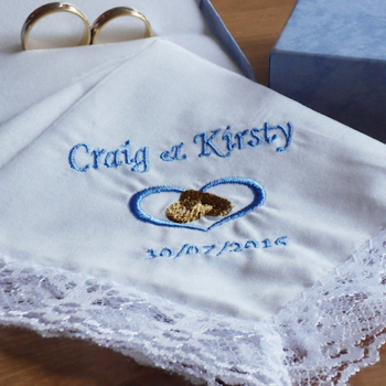 Wedding Handkerchief Personalised Heart and Rings Lace Hanky