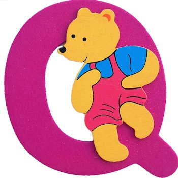 Wooden Letter Q Wood Bear Initials