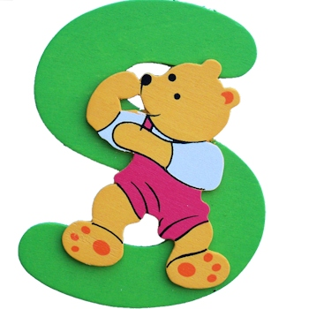 Wooden Letter S Wood Bear Initials
