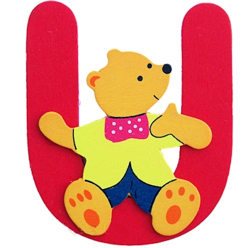 Kids Bedroom Door Initials Wooden Letter Bear U Decoration