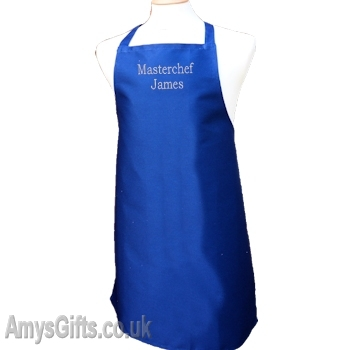 Royal Blue Apron Embroidered