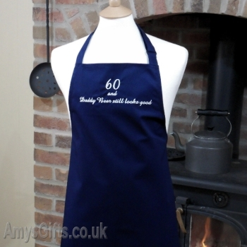 Navy Apron Embroidered