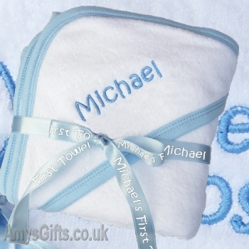 Personalised Hooded Towel with Blue Trim