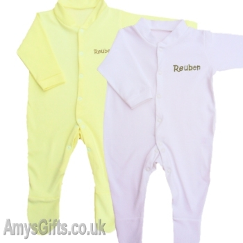 White and Yellow Babygrow Gift Set