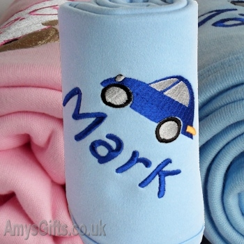 Personalised Cotton Baby Blanket - Blue