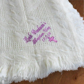 Embroidered Cream Baby Blanket