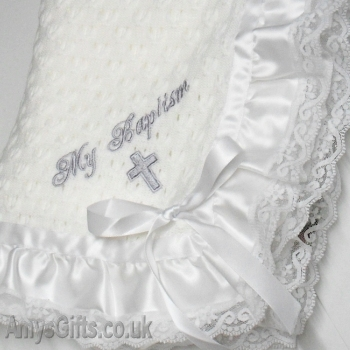 Satin Lace Trim Baby Shawl