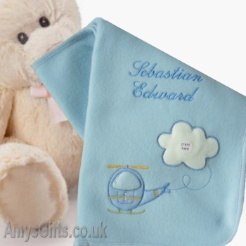 Personalised Baby Wrap Blue Helicopter