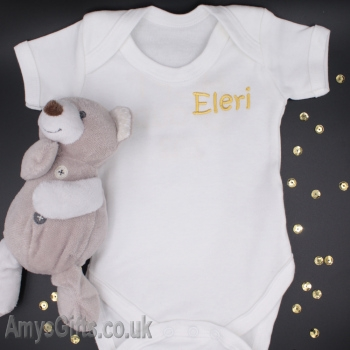 Babies White Bodysuit Embroidered