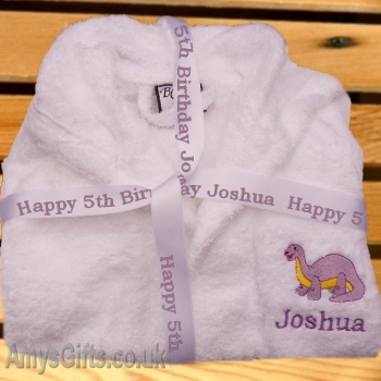 Personalised Dressing Gown 2-3 Yrs with Ribbon