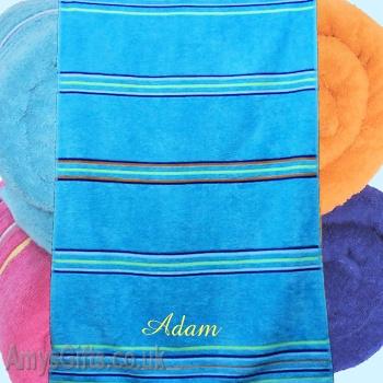Personalised Beach Towel Teal Blue Striped Swim Towel