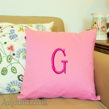 Monogrammed Pink Cushion