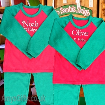 Personalised Red and Green PJs