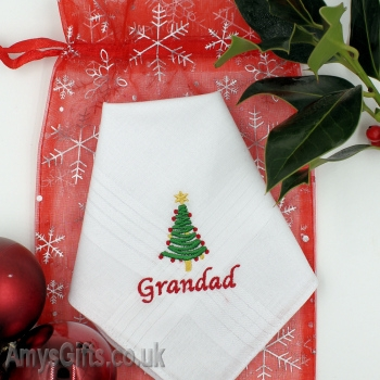 Personalised Hankies Christmas Tree Embroidery