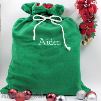 Large Green Christmas Sack with Name