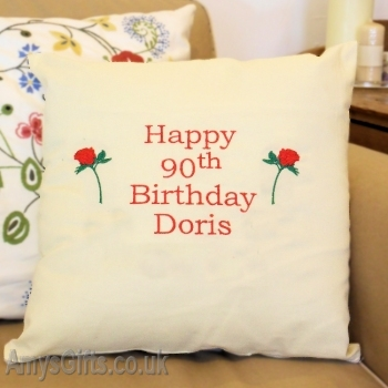 Embroidered Birthday Cushion
