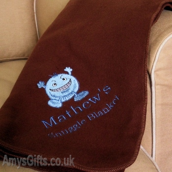 Bespoke Embroidered Brown Blanket