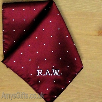Burgundy Pin Dot Satin Handkerchief