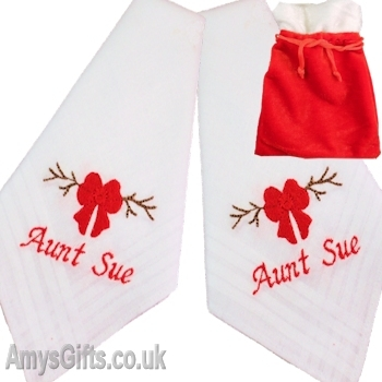 Personalised Hankies Red Bow Embroidery