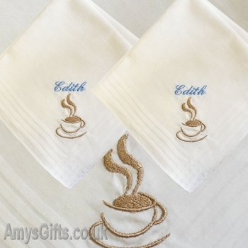 Coffee Cup Embroidered Hankies