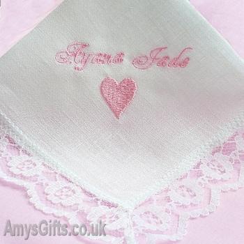Wedding Handkerchief Bespoke Embroidered Ladies Irish