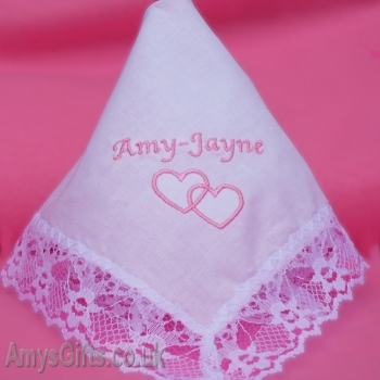 Hearts Entwined Lace Trim Hanky
