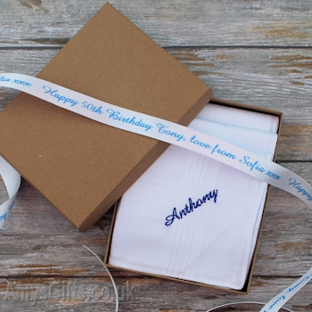 Gift Boxed Hankies with Personalised Ribbon