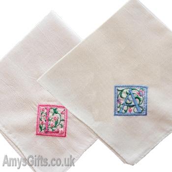 Ladies Hankies Monogrammed Vintage Floral Initial