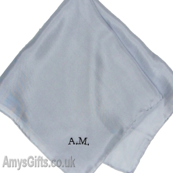 Mens Silk Handkerchief Silver Grey