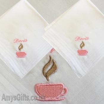 Tea Cup Cotton Hankie