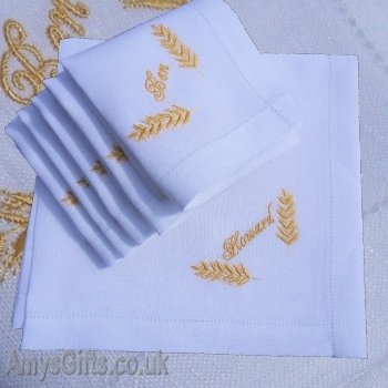 Wheat Sheaf Embroidered Linen Hankie