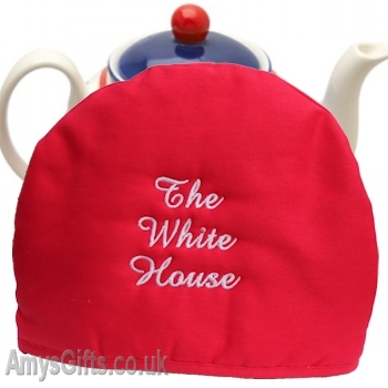 Red Tea Pot Cozy Embroidered