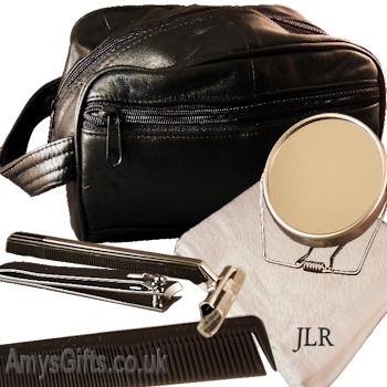 Leather Toiletry Travel Bag with Accessories