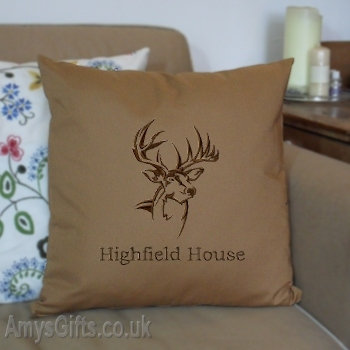 Stag Embroidered Cushion